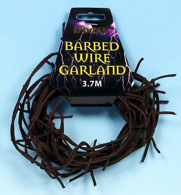 3.7M Fake Rusted Rusty Barbed Wire Halloween Horror Prop Shop Decoration Display