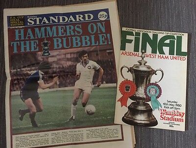 Arsenal v West Ham Utd 1980 FA Cup Final Programme + Special Edition Paper