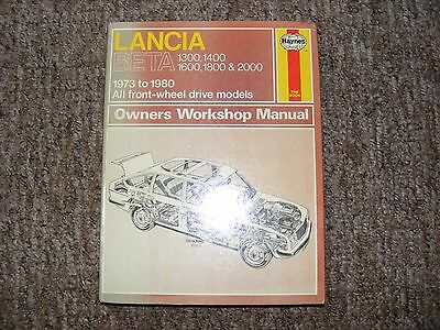 Lancia Beta Haynes Manual 1973 To 1980 Saloon Coupe Hpe Spider Series A & B