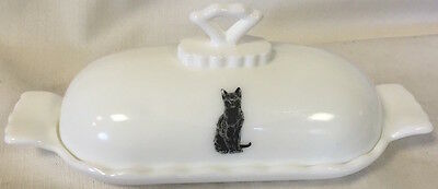 Oval Covered Butter Dish - Milk Glass w/ Black Cat