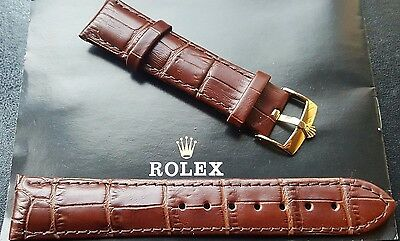 New 20mm Genuine Leather Brown Watch Strap For Rolex With G/P Buckle (WS-S24)
