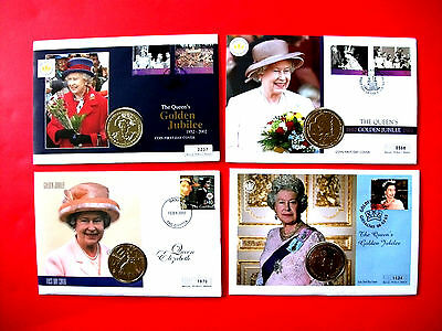 4 x Mercury First Day Coin Covers Queen's Golden Jubilee 2002