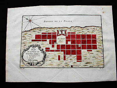 1754 BELLIN - Orig. View Map of SOUTH AMERICA, BUENOS AIRES, BAIRES, ARGENTINA
