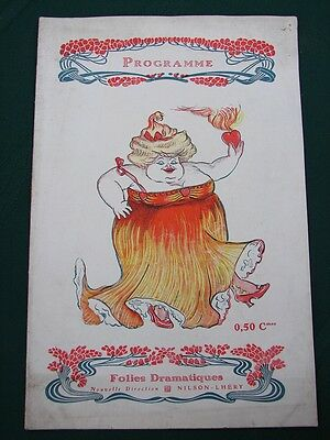 Folies Dramatiques Paris France ca.1910 French Vaudeville Melodrama Program