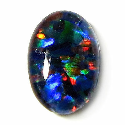 VERY UNUSUAL 8x6mm OVAL CABOCHON-CUT BLACK OPAL TRIPLET GEMSTONE £1 NR!