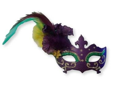 Pin Mardi Gras Mask with Feathers Purple Green Yellow party Favor