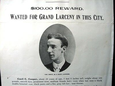 St Louis Missouri Police Wanted Poster Cecil Cooper 1906 orig Chief Creecy