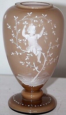 Stunning Antique Very Early Mary Gregory Reverse Painted Vase W/ Exterior Enamel