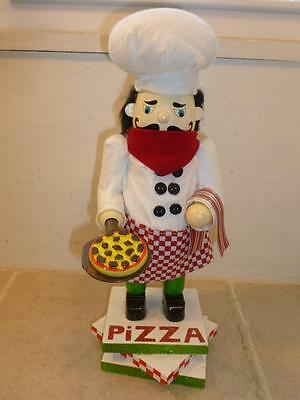 """Pier 1 Imports 12.5"""" Pizza Chef Baker Wooden Table Top Nutcracker"""
