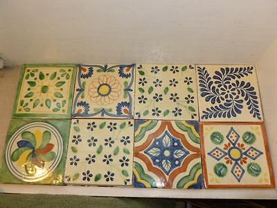 "8 Vintage Mixed Design Mexico Folk Art Pottery 6"" Colorful Painted Tiles"