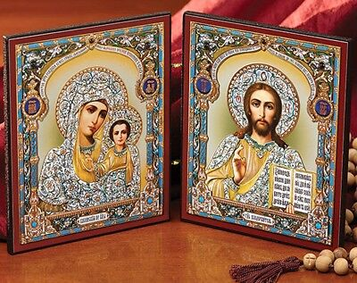 Madonna and Child Russian Diptych Icon Virgin of Kazan and Christ the Teacher
