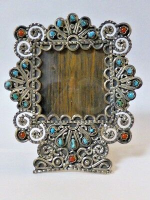 Mexican Turquoise and Coral Sterling Frame