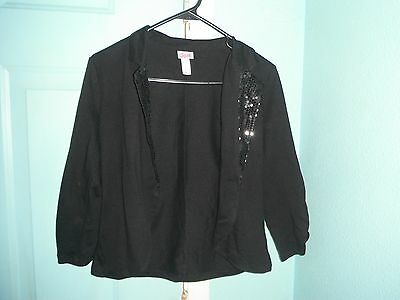 Girls Size 14 LS Black Lightweight JUSTICE Jacket W/ Sequin Accents (B12)