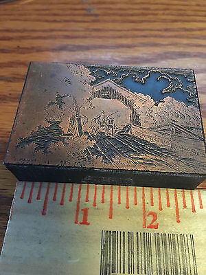 Printing Letterpress Printers Block, Cover Bridge with Horse and Buggy
