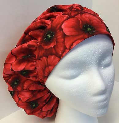 Red Floral Large Medical Bouffant OR Scrub Cap Surgery Hat