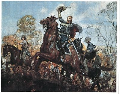 Museum Quality Reproduction Litho Of Confederate Cavalry General Jeb Stuart