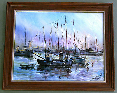 Oil Painting On Board Harbour Scene