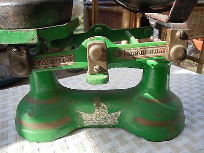 Lovely green vintage kitchen scales with weights.