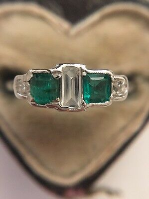 Art Deco 1920s Antique Platinum Emerald And Diamond Unusual Ring Very Pretty
