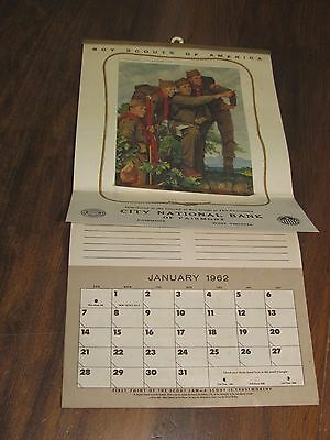 1962 Norman Rockwell Pointing The Way Boy Scout Calendar City Bank Fairmont WV