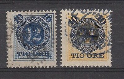 Sweden 1889 10ore on 12ore and 10ore on 24ore fine used . SG39,40