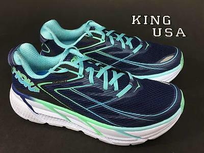 Women's Hoka One One Clifton 3 Running Athletic Shoes  Medieval Blue Spring Bud