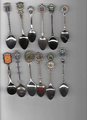 12 X Assorted Collectable Silver Metal Souvenir Spoons