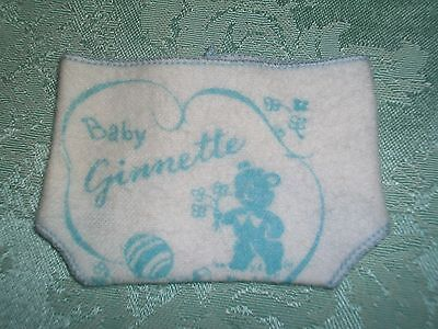 "Vintage 50'S Vogue 8"" Ginnette/Ginny Doll ~White & Blue Flannel Diaper"