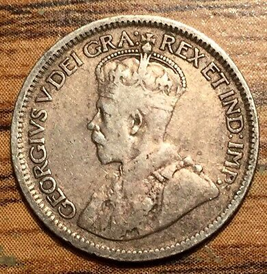 1919 Silver Canada 10 Cents King George V Coin