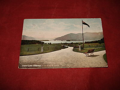 VINTAGE IRELAND: KILLARNEY lower lake from Victoria Hotel colour tint 1905