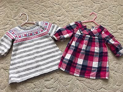 Lot Of 2 Old Navy Baby Girl Sweater Dresses, Size 3-6 Months, Cute!