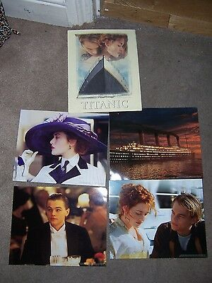 """4 x photographs of Titanic film plus envelope which is torn 10"""" x 8 """" - used"""