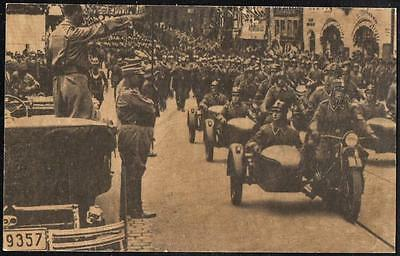 PPC pc Germany #8 = GERMAN WWII - Hitler takes the Salute (Bikes on Parade)