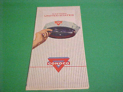 1962 Highway Map Of Southeastern Us Showing Conoco Brand Hat & Advertisement