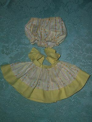 "Vintage 50'S Vogue 8"" Ginnette Doll~Yellow/White Rose bud Sun Dress w/panties"