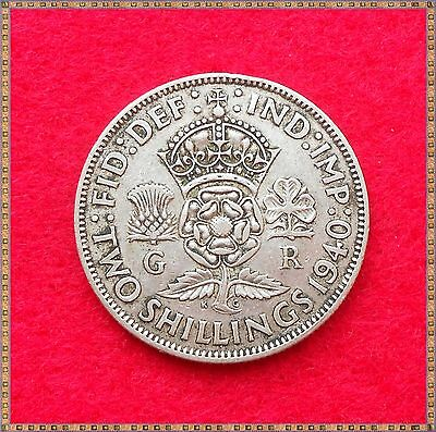 1940 George Vi Silver Florin/ Two Shillings (2/-) Coin.