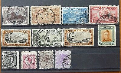 New Zealand 29 old used stamps, mostly QV-GV, high catalogue