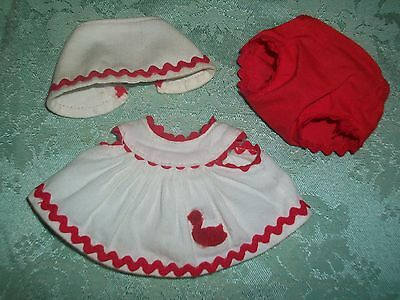 "Vintage 50'S Vogue 8"" Ginnette/Ginny Doll~White/Red Sun-suit w/Bonnet & Panties"