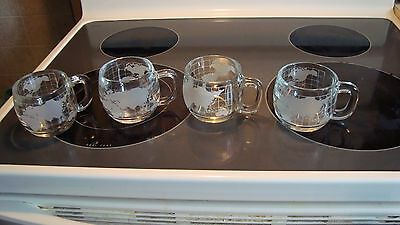 Set of 4 Nestle Nescafe World Globe Clear Etched Glass Coffee Mugs Cups