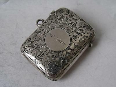 Pretty Hand-Engraved Antique Chester 1901 Solid Sterling Silver Vesta Case/ 4cm