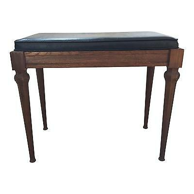 Vintage WOOD PIANO BENCH vanity storage chair mid century modern brown stool 60s