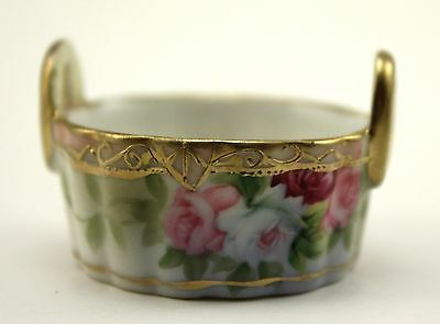Nippon Floral Salt, Open Salt, Dip, Dish With Handles Gold Trim