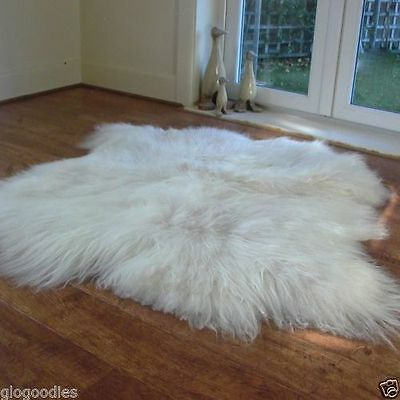 Double Natural Icelandic Sheepskin Fur Rug XXL White Icelandic Sheepskin 130cm