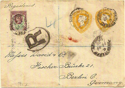 GB 1895 QV 1½d 9fl x2 COMPOUND REGISTERED STO STATIONERY ENV +1½d STAMP- BERLIN