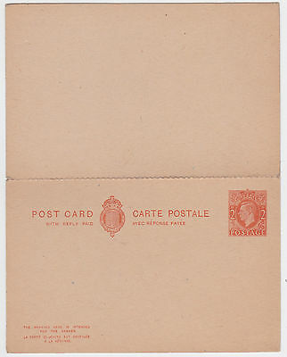 1942 KGVI 2d+2d POSTAL STATIONERY REPLY CARD MINT PERFORATED int'l use French