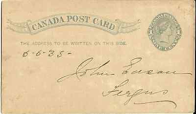 CANADA POST CARD One CENT geprägt, Rückseite:The Canadian Mutual Rid Association