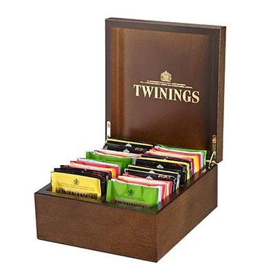 Twinings Luxury 4 Compartment Wooden Tea Chest Box 48 Tea Bags