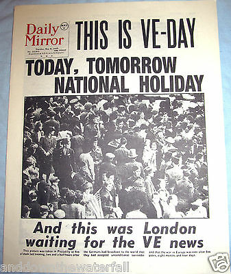 1945 VE DAY Newspaper World War II Defeat of Adolph Hitler & Nazi Germany Old