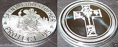 ST CHRISTOPHER Silver Coin Saint Medal Medallion Carrying Baby Lord Jesus River