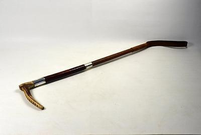 Vintage Hunting Whip / Horse Riding Crop Horn Handle Silver Plated Mounts c.1920
